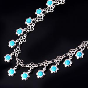 Graceful Faux Turquoise Floral Anklet For Women -