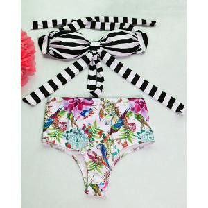 Striped Floral High Waisted Bandeau Bikini Set
