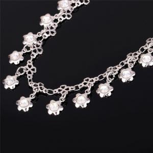 Graceful Rhinestone Floral Anklet For Women -