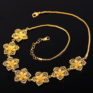 Flower Shape Hollow Out Necklace - GOLDEN