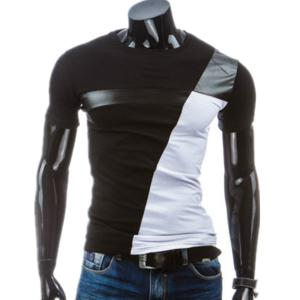 Round Neck PU-Leather Splicing Design Short Sleeve T-Shirt For Men