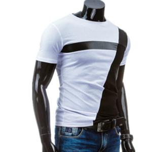 Round Neck PU-Leather Splicing Design Short Sleeve T-Shirt For Men - WHITE 2XL