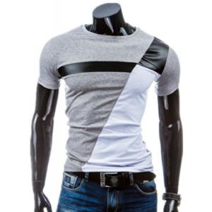 Round Neck PU-Leather Splicing Design Short Sleeve T-Shirt For Men - Light Gray - L