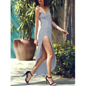 Maxi Stripe Slit Cami Club Dress - STRIPE M