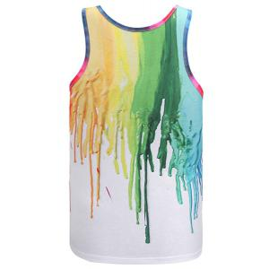 Round Neck 3D Colorful Pigment Print Sleeveless Tank Top For Men -