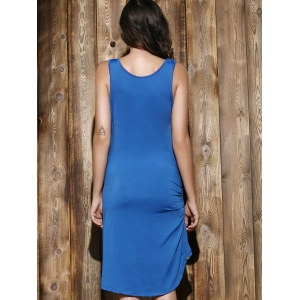 Simple Scoop Neck Sleeveless Pleated Solid Color Women's Dress -