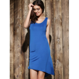 Simple Scoop Neck Sleeveless Pleated Solid Color Women's Dress - SAPPHIRE BLUE XL