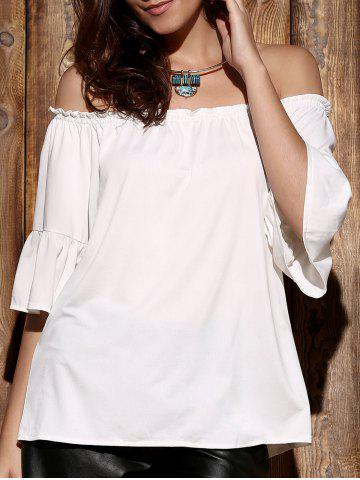 Endearing Off-The-Shoulder Flare Sleeve Pleated Blouse For Women - White - One Size(fit Size Xs To M)