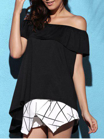 Cheap Stylish Solid Color Off-The-Shoulder Asymmetric Blouse For Women