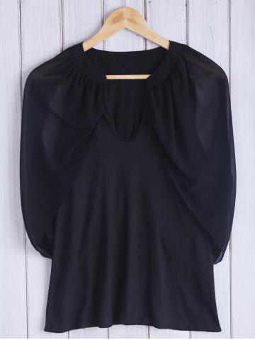 Unique Chic Keyhole Neck 3/4 Sleeve Black Cold Shoulder See-Through Blouse For Women