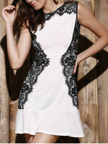 Fashion Elegant Round Collar Lace Spliced Ruffles Sleeveless Dress For Women