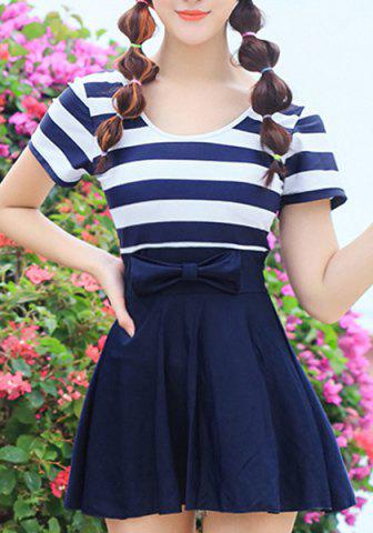 Discount Simple Design Scoop Neck Short Sleeves Striped Swimwear For Women DEEP BLUE M