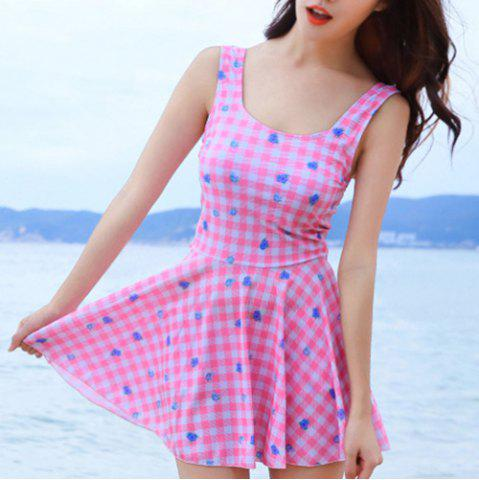 Cheap Sweet Checked Floral Print Swimsuit For Women