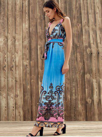 Shops Elegant Plunging Neck Sleeveless Printed Self-Tie High Waist Dress For Women - S BLUE Mobile