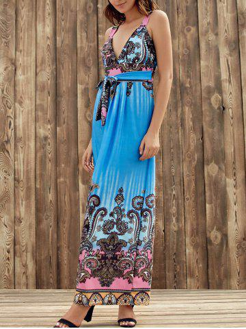 Trendy Elegant Plunging Neck Sleeveless Printed Self-Tie High Waist Dress For Women - S BLUE Mobile