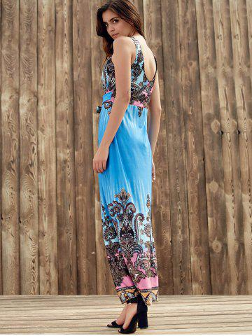 Sale Elegant Plunging Neck Sleeveless Printed Self-Tie High Waist Dress For Women - S BLUE Mobile