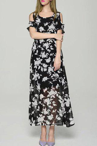 Store Graceful Scoop Neck Short Sleeve Floral Print Cold Shoulder Dress For Women