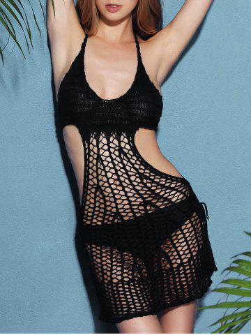 Sale Halter Crochet See Through Backless Swimwear Cover-Up - ONE SIZE(FIT SIZE XS TO M) BLACK Mobile