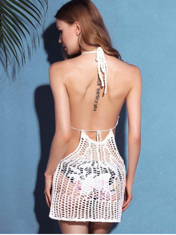 Shops Halter Crochet See Through Backless Swimwear Cover-Up - ONE SIZE(FIT SIZE XS TO M) WHITE Mobile