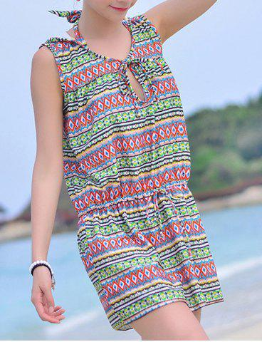 Store Sweet Halter Printed High Waist Bikini and Hooded Dress Suit For Women