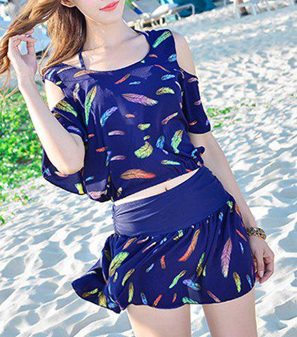 Online Endearing Halter Feather Printed Bikini and Cover-Up Swimwear Suit For Women