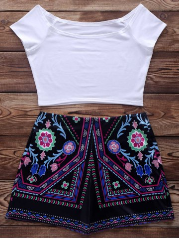 Outfits Short Sleeve Crop Top + Ethnic Print Short Suit