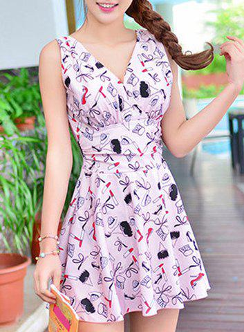 Chic Cute Printed High Waist One-Piece Dress Swimwear For Women