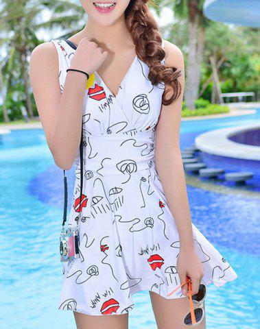 Unique Lips Printed High Waist Cute One Piece Swimsuit