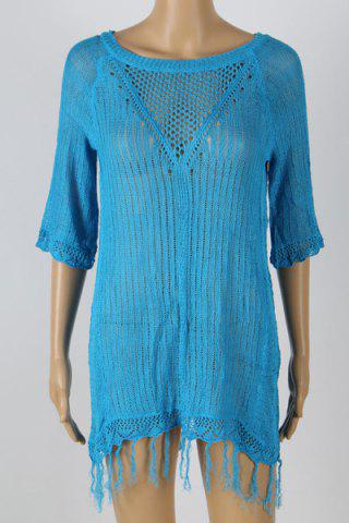 New Stylish Jewel Neck Short Sleeve Fringed Cover-Up For Women