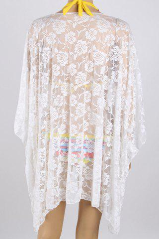 Outfit See-Through 3/4 Sleeve Lace Beach Kimono - ONE SIZE(FIT SIZE XS TO M) WHITE Mobile