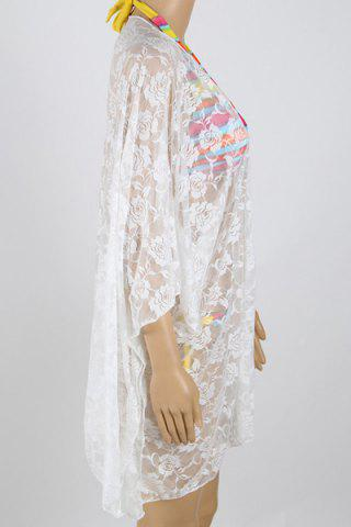 Cheap See-Through 3/4 Sleeve Lace Beach Kimono - ONE SIZE(FIT SIZE XS TO M) WHITE Mobile