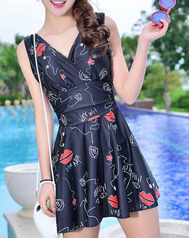 Latest Lips Printed High Waist Cute One Piece Swimsuit