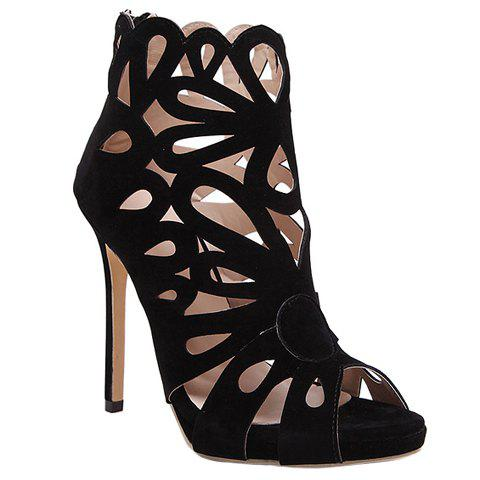 Shop Zip Back Stiletto Heel Caged Sandals