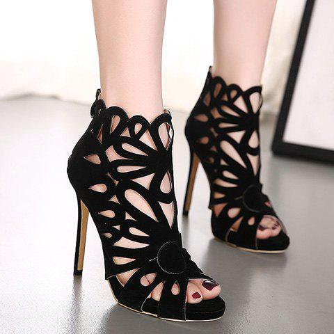 Outfit Zip Back Stiletto Heel Caged Sandals - 37 BLACK Mobile