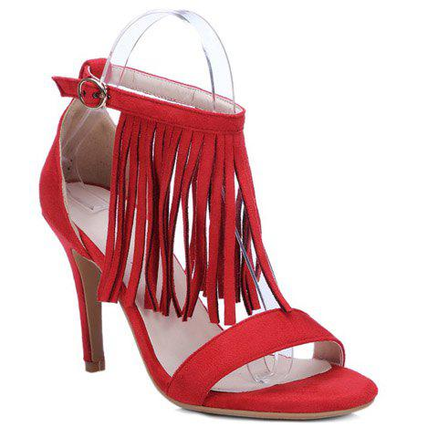 Chic Ankle Strap Heeled Fringe Sandals