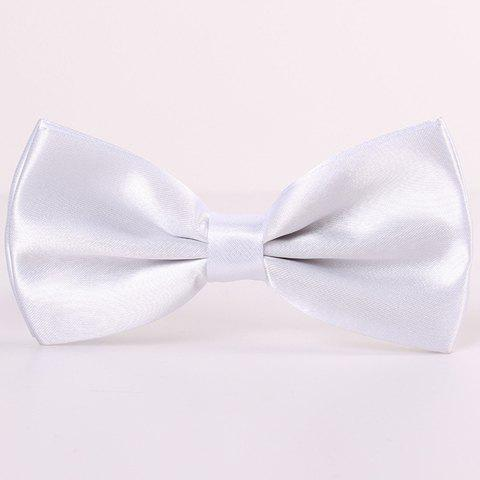 Chic Stylish Candy Color Double-Deck Satin Bow Tie For Men WHITE