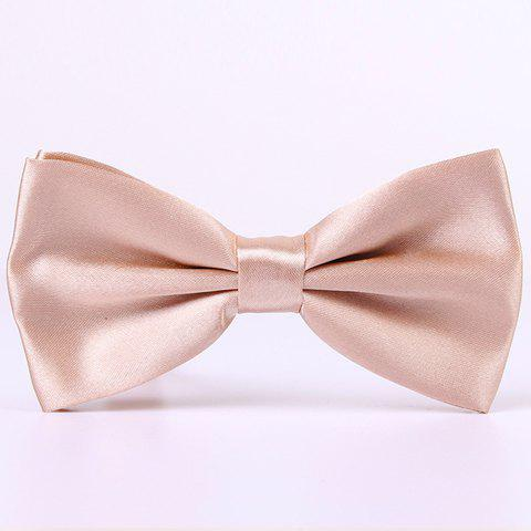 Outfits Stylish Candy Color Double-Deck Satin Bow Tie For Men APRICOT