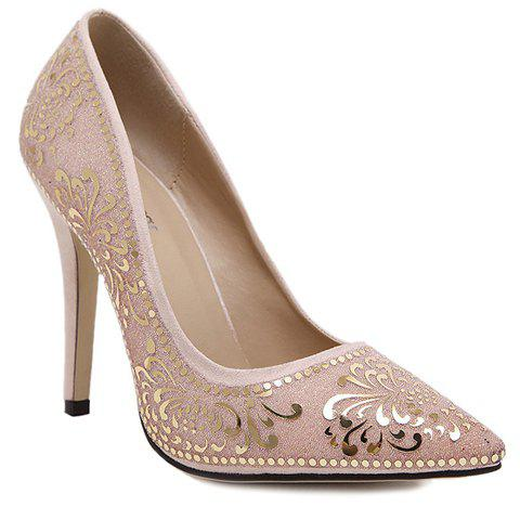 Elegant Stiletto Heel and Floral Print Design Pumps For Women - APRICOT 40