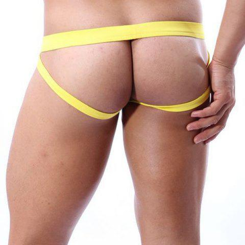 Store Solid Color Hollow Out Design Low Waist U Convex Pouch Modal Thongs For Men - YELLOW L Mobile