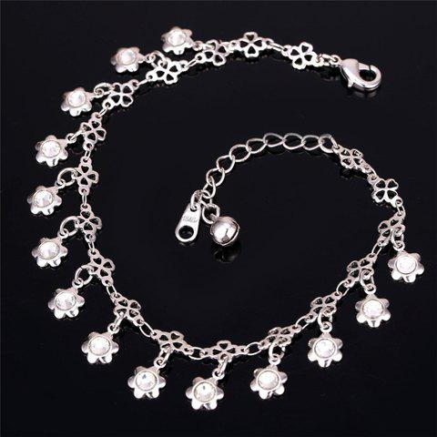 Hot Graceful Rhinestone Floral Anklet For Women - SILVER  Mobile