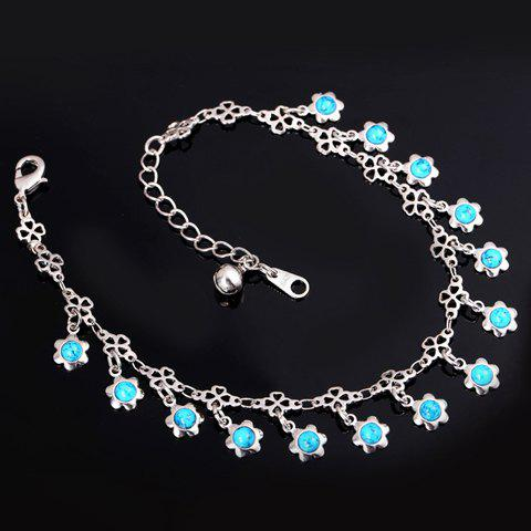 Cheap Graceful Faux Turquoise Floral Anklet For Women