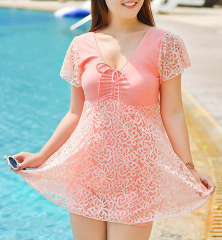 Sale Stylish Solid Color Lace Spliced One-Piece Dress Swimwear For Women