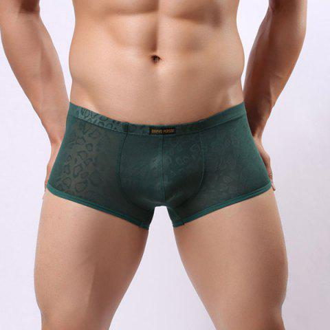 New Style Elastic Waist Solid Color Jacquard Design Penis Pouch Boxer Briefs For Men - GREEN S