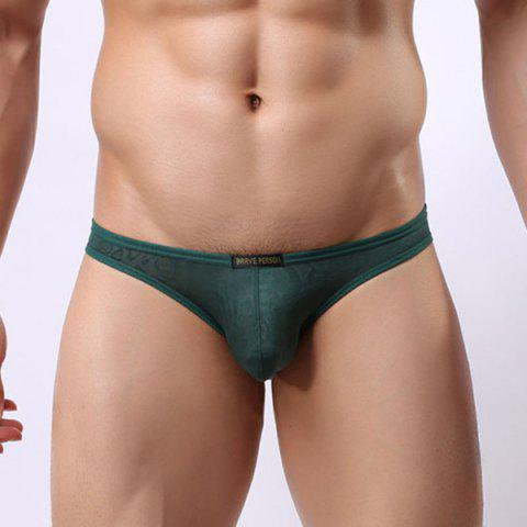 Fashion New Style Elastic Waist Solid Color Lace Jacquard U Convex Pouch Briefs For Men - XL GREEN Mobile