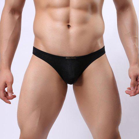 Affordable New Style Elastic Waist Solid Color Lace Jacquard U Convex Pouch Briefs For Men - S BLACK Mobile