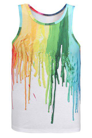 Fashion Round Neck 3D Colorful Pigment Print Sleeveless Tank Top For Men
