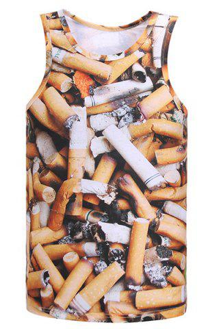 Chic Round Neck 3D Cigarette Butts Print Sleeveless Tank Top For Men