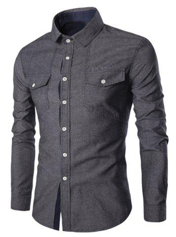Fancy Turn-Down Collar Pockets Design Embroidery Long Sleeve Denim Shirt For Men