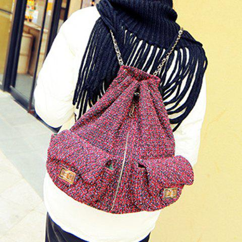 New Leisure Double Pocket and Colour Matching Design Backpack For Women - WINE RED  Mobile