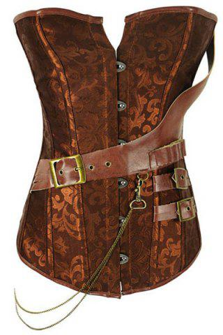Fancy Vintage Strapless Buckle Lace-Up Corset For Women